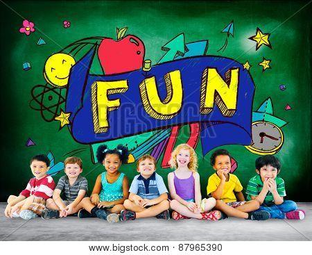 Kids Fun Joy Smiley Stationery Education Concept