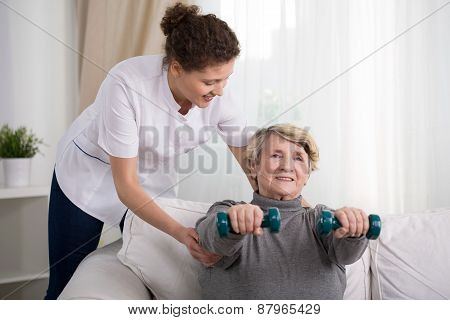 Old Woman Training At Home