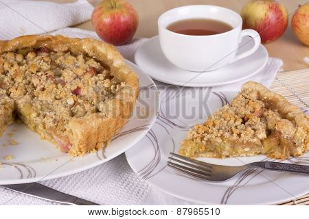 Tea Served With Rhubarb And Apple Crumble Tart
