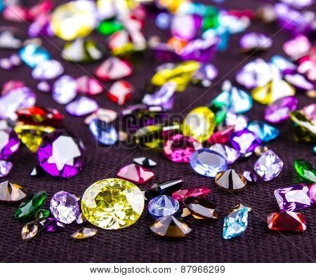 Many different natural gemstones