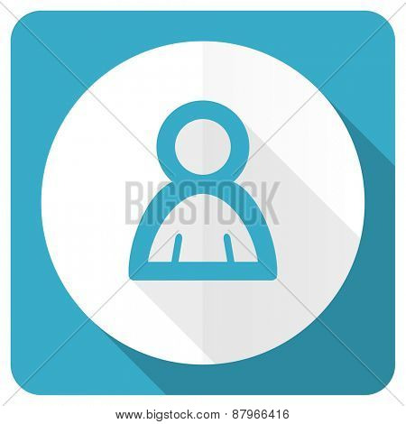 person blue flat icon
