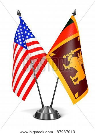 USA and Sri Lanka - Miniature Flags.