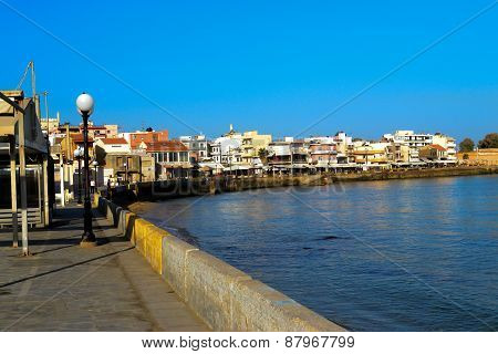 Beautiful cityscape and promenade in city of Chania on island of Crete, Greece