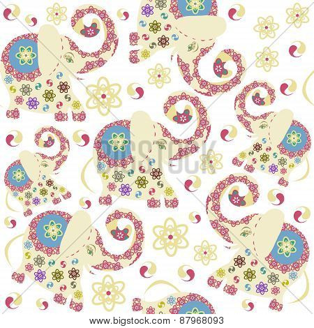 Kids Elephants Seamless Pattern And Seamless Pattern In Swatch Menu, Vector Illustration. Funny Text