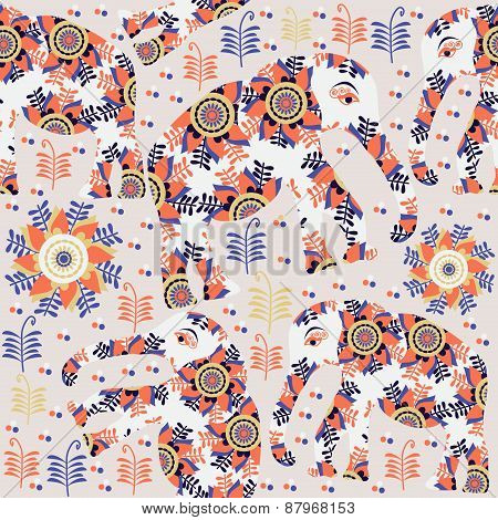 Elephants Seamless Bright Pattern And Seamless Pattern In Swatch Menu, Vector Picture. Colorful Text