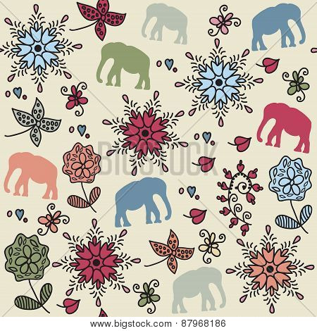 Elephants Seamless Colorful Pattern And Seamless Pattern In Swatch Menu, Vector