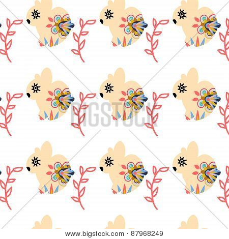 Rabbits Seamless Pattern And Seamless Pattern In Swatch Menu, Vector Image. Cute Texture In Soft Col