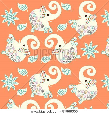 Cute Elephants Seamless Pattern And Seamless Pattern In Swatch Menu, Vector Picture. Retro Tileable