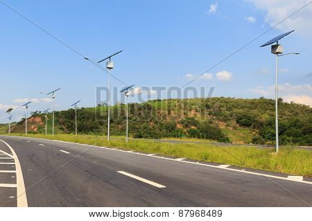 Solar Panel On Electric Pole, Use Of Solar Energy For Lightning Of Highway, Brazil