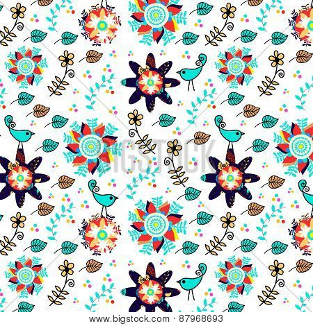 Colorful Birds And Flowers Elegance Seamless Pattern And Seamless Pattern In Swatch Menu, Vector Pic
