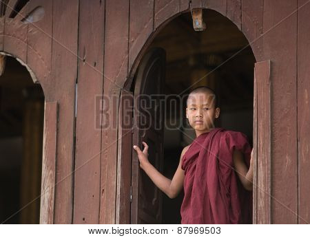 Burmese Buddhist Novice In Mandalay