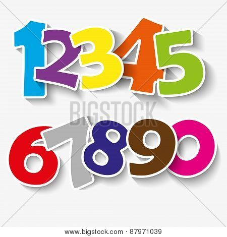 Set of colorful ribbon font. Numbers 0,1,2,3,4,5,6,7,8,9,0.  new year 2015. Vector illustration