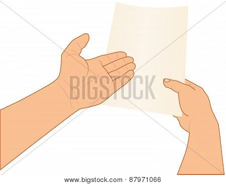 hands holding and pointing to paper