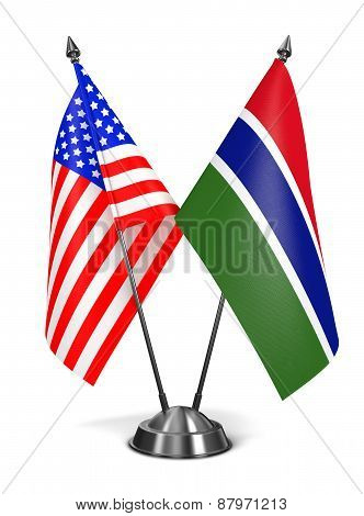 USA and Gambia - Miniature Flags.