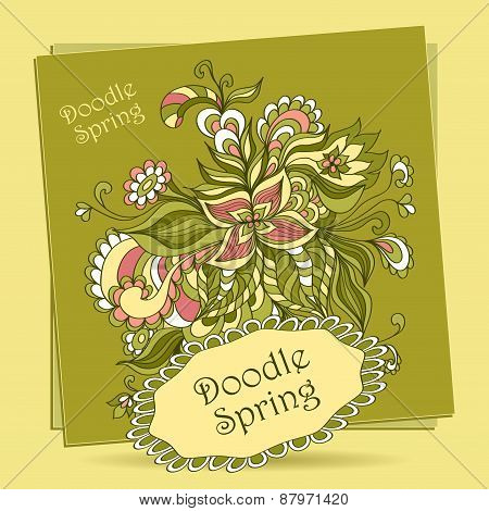 Doodle floral elements in green