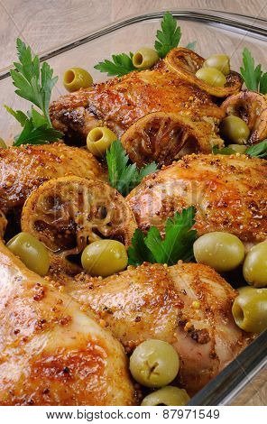 Parts Of Chicken Baked With Lemon