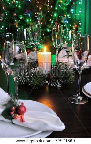 Fragment Of The Christmas Table Decoration