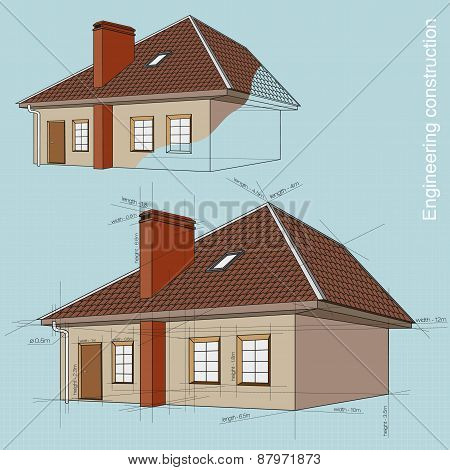 Engineering construction of buildings. drawings and design of the house with the dimensions