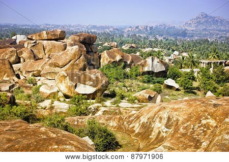 Beautiful Landscape With Large Rocks Near Hampi, India