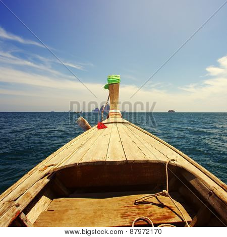 Traditional Thai boat in the Andaman Sea