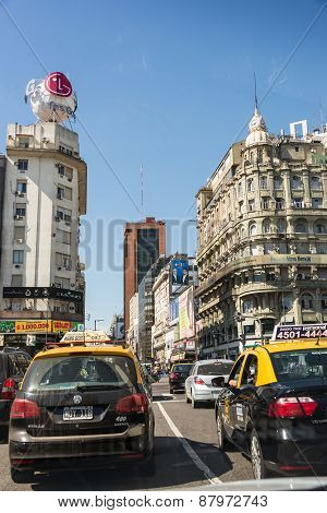 Buenos Aires, Argentina - April 9, 2015: Driving Through Corriente Avenida, Famous Central Avenue On