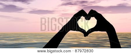 Concept or conceptual heart shape or symbol made of human or woman and man hand silhouette over a sky and sea or water at sunset background banner