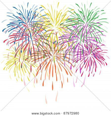 vector colorful fireworks with stars and sparks on white background