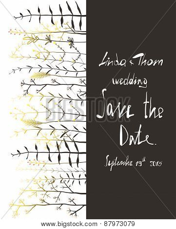 Save the Date Invitation Card Template with Flowers