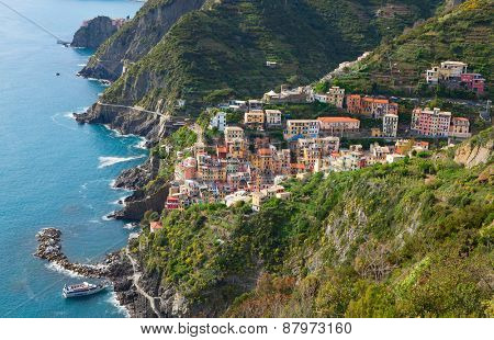 A view of Riomaggiore and neighborhood, province of La Spezia, Liguria, Italy.