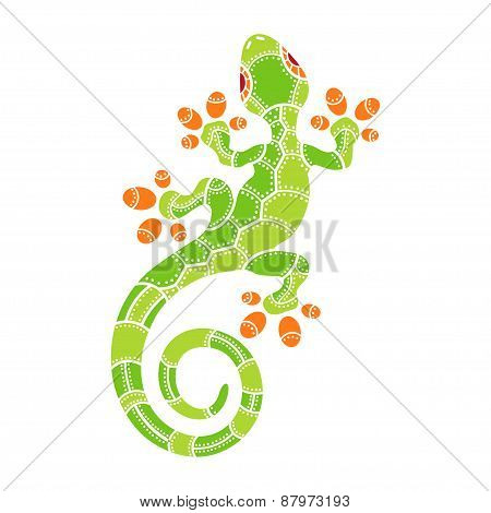Decorative isolated cartoon lizard