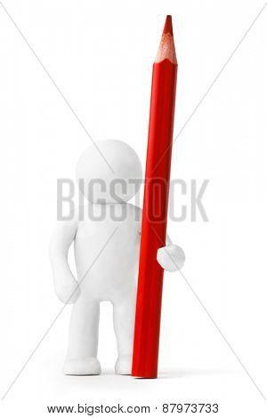 Plasticine man with red pencil isolated on white background