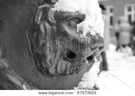Lion Statue In Riga.