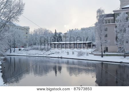 View Of Center Of Riga At Winter.