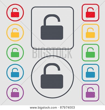 Open Padlock Icon Sign. Symbol On The Round And Square Buttons With Frame. Vector