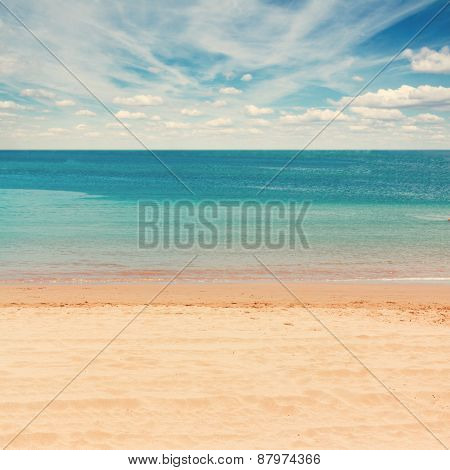 sea shore with blue sky