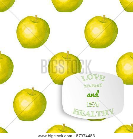 Positive motivation slogan on watercolor apple background. Welness and health theme. Vector illustra