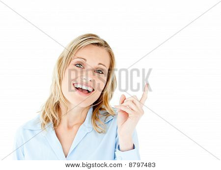 Cheerful Businesswoman Pointing Upward Isolated