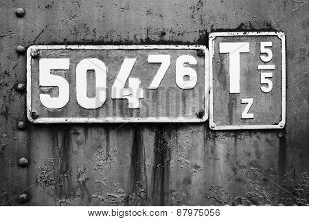 Vintage Locomotive Sign In Black And White