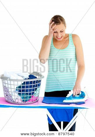 Frustrated Woman Ironing Her Clothes