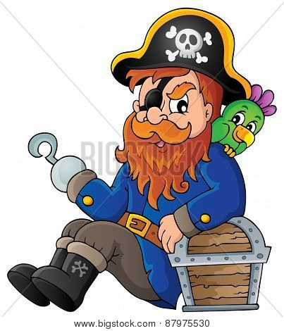 Sitting pirate theme image 1 - eps10 vector illustration.