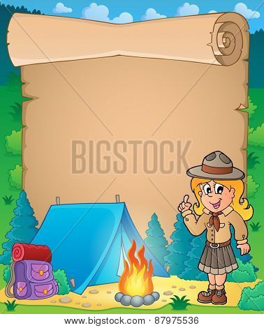 Parchment with advising scout girl - eps10 vector illustration.