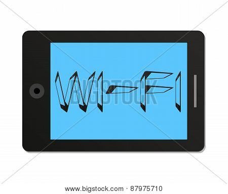 Tablet Pc With Wi-fi Icon In Flat Style.