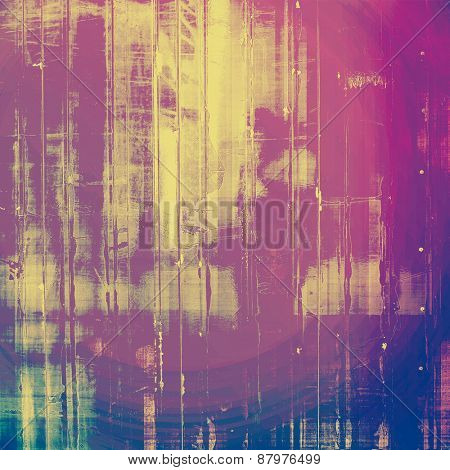 Retro background with grunge texture. With different color patterns: purple (violet); blue; yellow (beige); pink