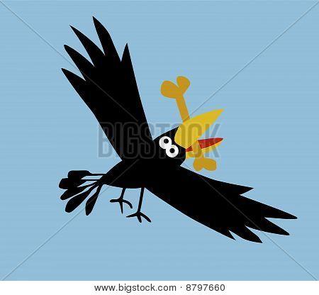 vector illustration flying ravens on  blue background