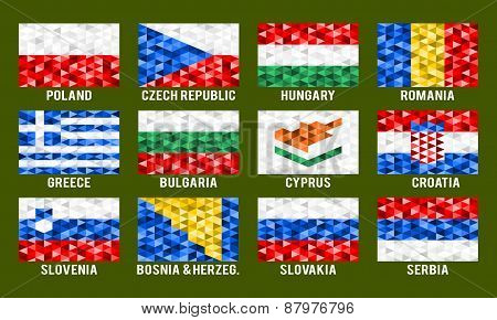Central and South Europe low poly flags