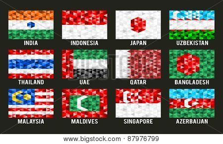 Asia low poly flags