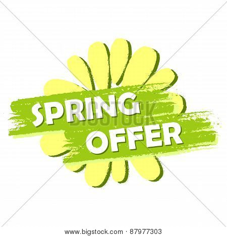 Spring Offer With Flower, Green Drawn Label