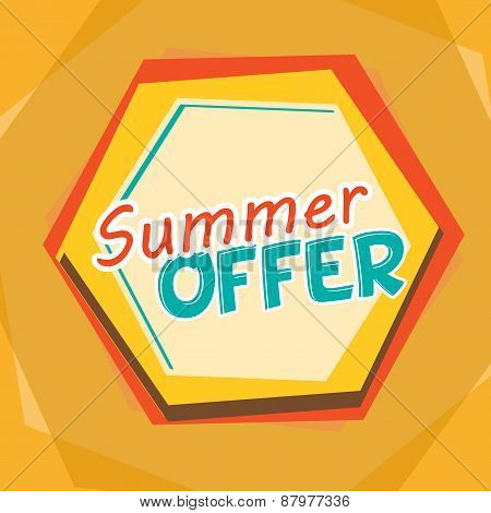 Summer Offer, Yellow, Orange And Blue Cartoon Drawn Label