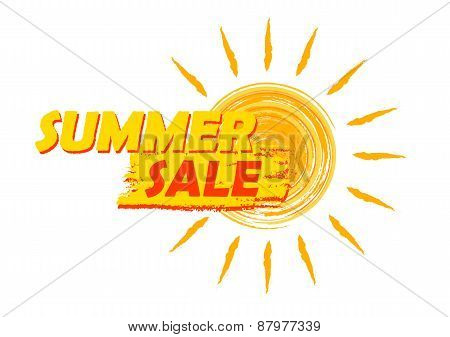 Summer Sale With Sun Sign, Yellow And Orange Drawn Label