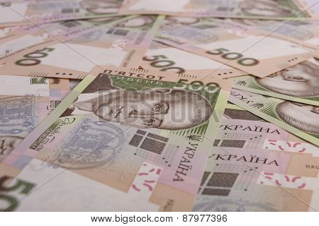 Close Up Of Pile Of Hryvna Bills